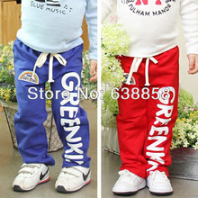 Children kids boys sport full length pants casual style letter pattern kids pants trousers blue and red colors free shipping(China (Mainland))