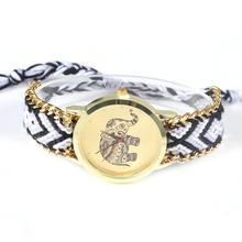 Women s Braid Watches Fashion Design Lovely Animal Elephant Pattern Wristwatches Bracelet Watches wristwatch watches for