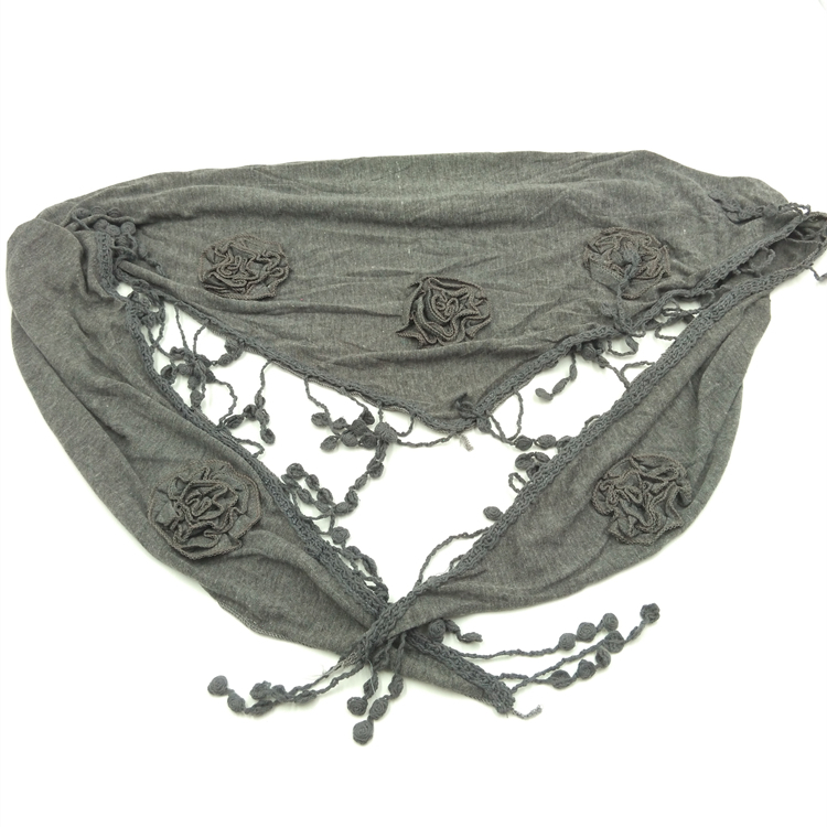 New Fashion Style Spring Autumn Women Scarf Solid Floral Pashmina Applique Triangle Shape Scarf Female viscose Scarves(China (Mainland))