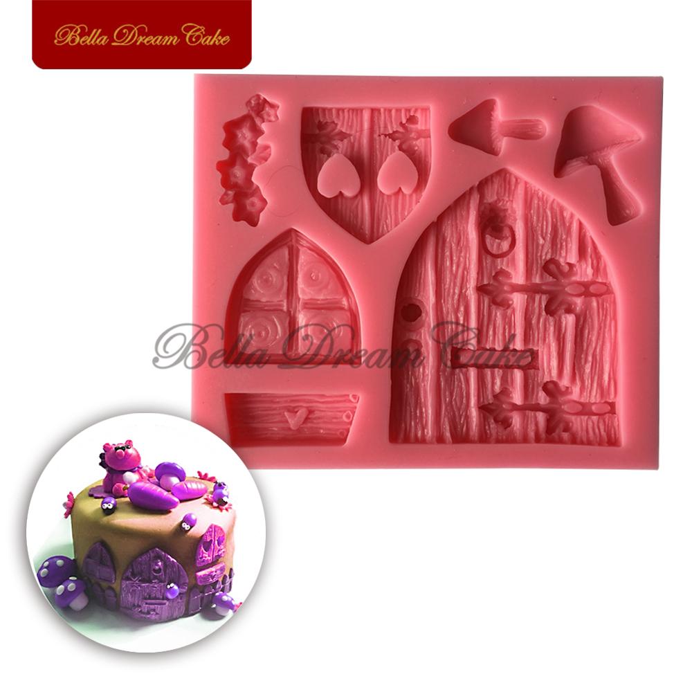 3d cartoon fairy haus holztür windows form silikon fondantform kuchen dekorieren tools schokoladenform werkzeug sm