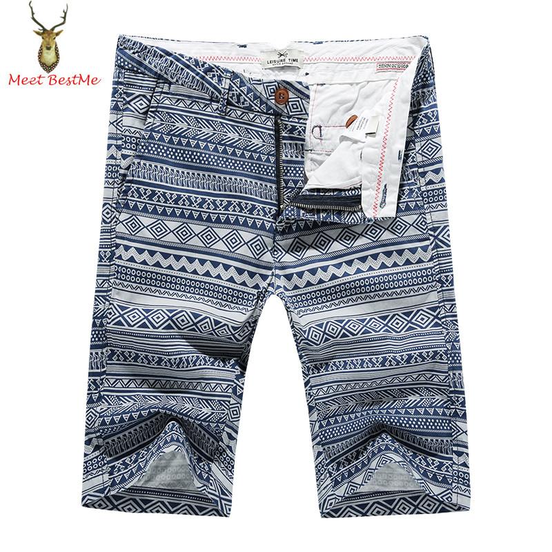 Great Quality Ethnic Vintage Geometric Printed Cotton Shorts Men Knee Length Bermudas Fashion 2016 Summer New Brand Mens Shorts(China (Mainland))