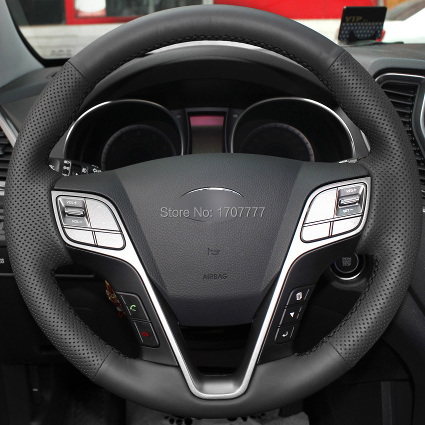 Black Artificial Leather Hand-stitched Car Steering Wheel Cover 2013 Hyundai Santa Fe - Betty Auto Accessories Store store