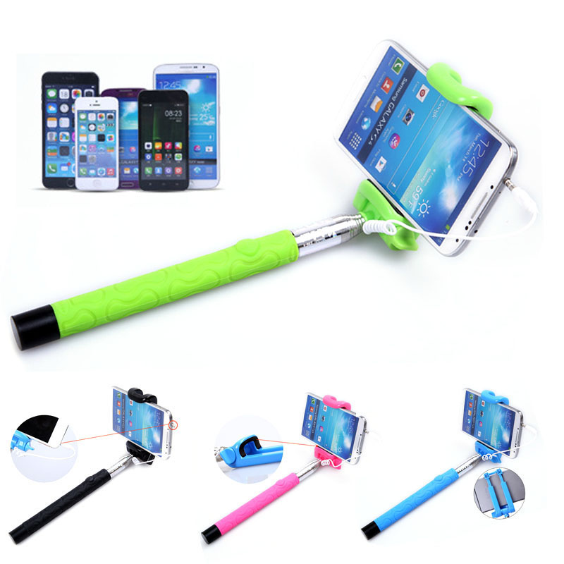 2016l Mini Extendable Handheld Self-portrait Stick Holder For android ios Cell Phone Selfie Stick Onfine Leo