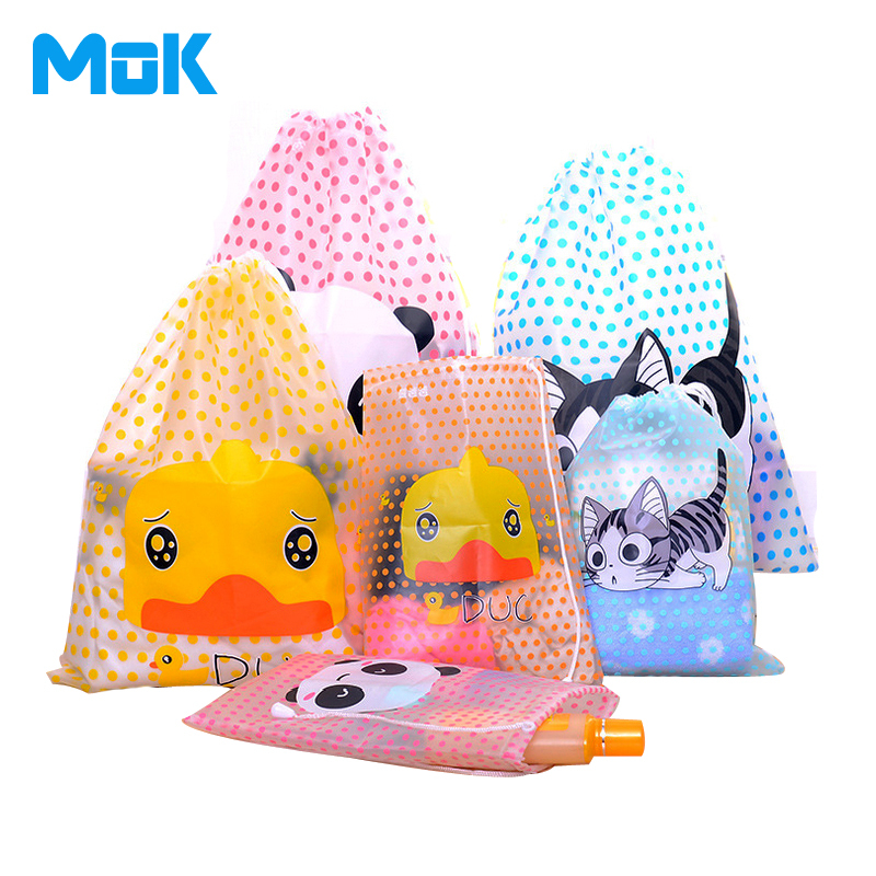 Lovely Cartoon Animal Pattern Waterproof PVC Storage Bags Fresh Dots Portable Square Travel Bags Clothes Shoes Container(China (Mainland))