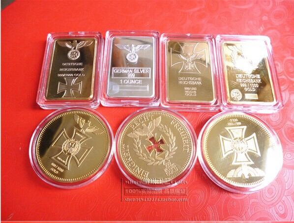 product WW2 germany coin collection set ! 7 pcs GOLD plated german coin collection set