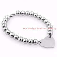 "6mm Wholesale Jewelry 316L Stainless Steel Silver Beads Rosary Chain Charm Heart Womens Girls Bracelet Bangle 7""-11"" Good Gift(China (Mainland))"