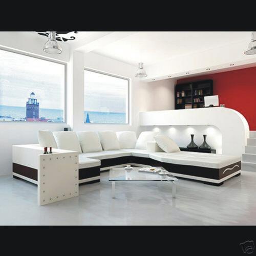 Sof moderno mobiliario establecer cuero genuino de la - Mobiliario para el hogar ...