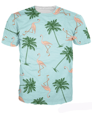 2016 Flamingos and Palm Trees T-Shirt Fashion Clothing Summer Style t shirt Casual tops Women Men Tees Camisetas 3D Printed