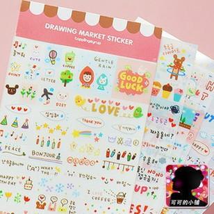 Гаджет  1bags/lot (6 sheets) DIY Cute Kawaii Cartoon Korean Girl Sticker for Scrapbook Decoration Diary Wholesale Free shipping 910 None Офисные и Школьные принадлежности