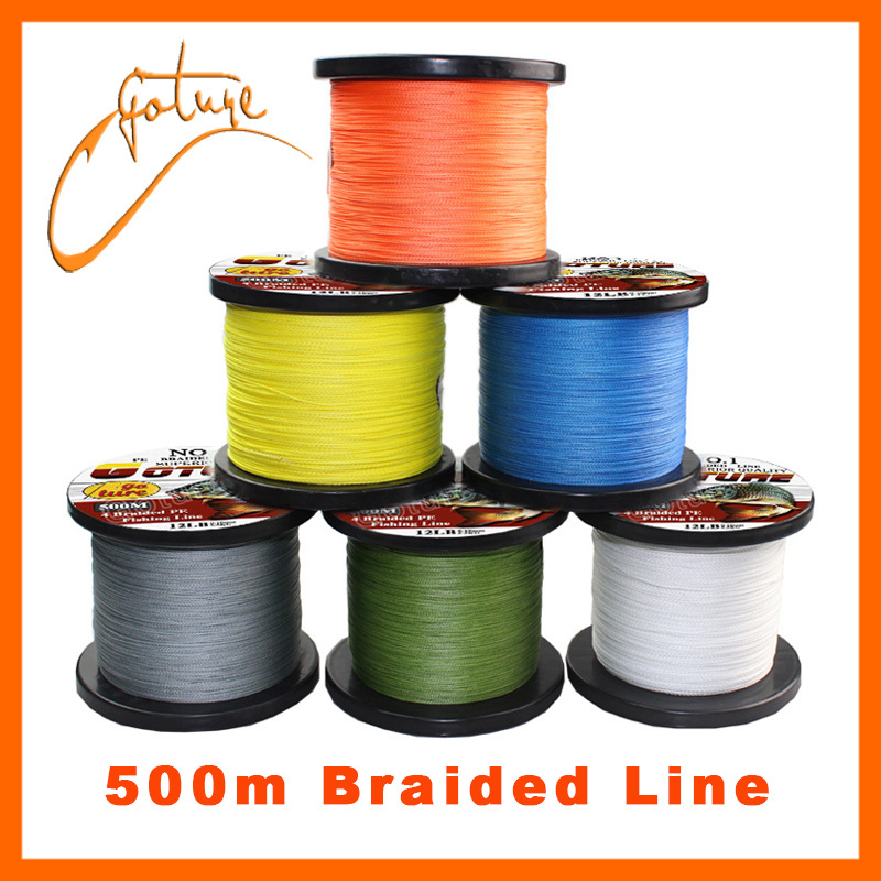 6 color 4 stands pe braided fishing line 500m for 20 lb braided fishing line
