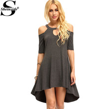 Sheinside Summer Sexy Dresses Women Loose Dark Grey Cold Shoulder Hollow High Low Cut Out Half Sleeve Dress(China (Mainland))