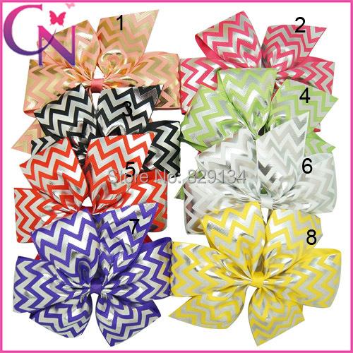 "Chevron Hair Bows For Girls Boutique Hair Clips Fashion Baby Hair Bows 8 pieces/lot 6"" ZH8-14103006()"