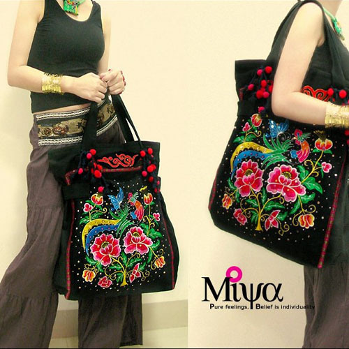 Handmade embroidery shoulder bag