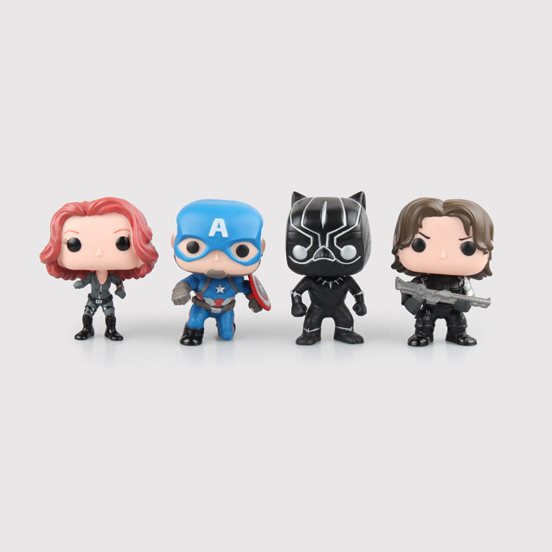 Funko Pop Marvel Shield America Anime Avengers Captain America Black Panther Black Widow Winter Soldier Action Figure Toys 0269(China (Mainland))