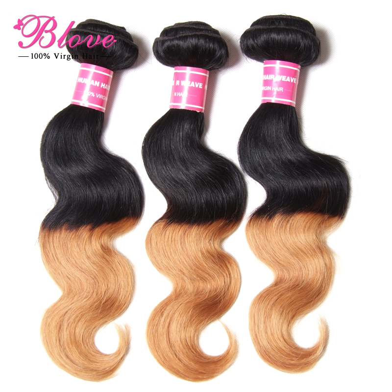6A Ombre Brazilian Hair Body Wave 1B/27 Natural Black Blonde Brazilian Virgin Hair Ombre Body Wave 3pcs Ombre Human Hair(China (Mainland))