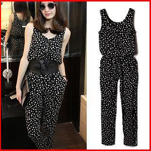 Fashion women's 2014 jumpsuit mm plus size summer jumpsuit polka dot harem pants female