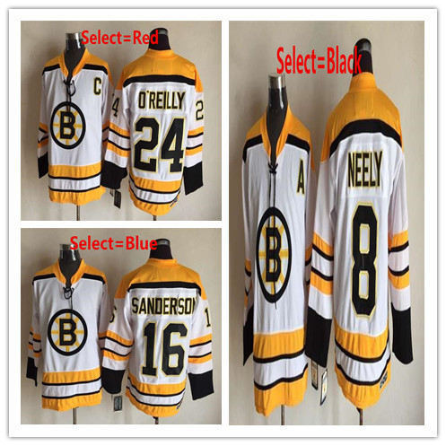 Mens #8 Cam Neely #16 Derek Sanderson #24 Terry O'Reilly Throwback CCM Embroidery Hockey Jerseys White Gold(China (Mainland))