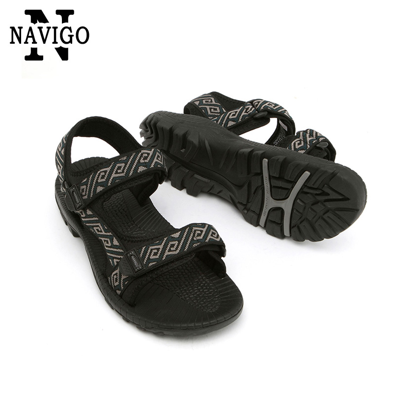 breathable mens outdoor sandals slippers summer black rubber beach sandals stripe sport sandals outdoor casual shoes