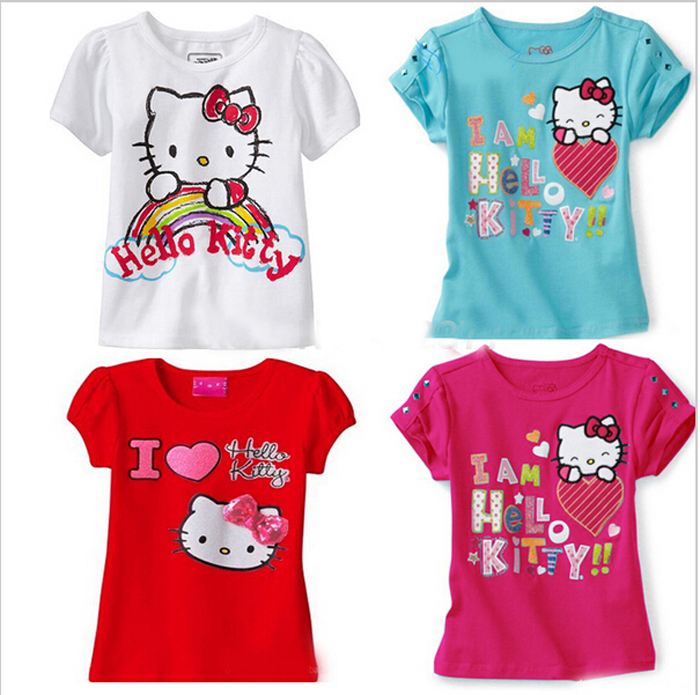 New 2015 Baby Girls Cartoon hello kitty T Shirt Kids Short Sleeve T shirt Children summer