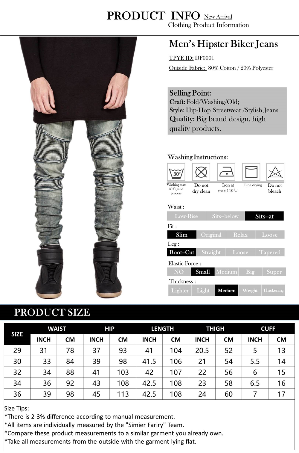 UNRESTRAINED Men's Hipster Hip Hop Slim Jeans Bronze Pleated Denim Skinny Jeans Washing Old Sits At Waist Boot Cut Biker Jeans