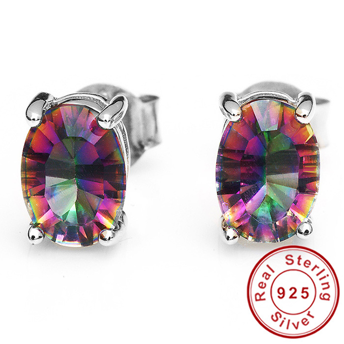 Гаджет   7x5mm Oval Cut 1.5ct Fire Rainbow Mystic Topaz Earrings Studs Solid 925 Sterling Silver Women Vintage Fashion Wholesale None Ювелирные изделия и часы