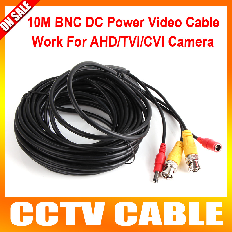 10M Cable Video Power Cable BNC +DC Connector for CCTV Security Camera Support AHD/HDCVI/HDTVI Camera Low Signal Attenuation(China (Mainland))