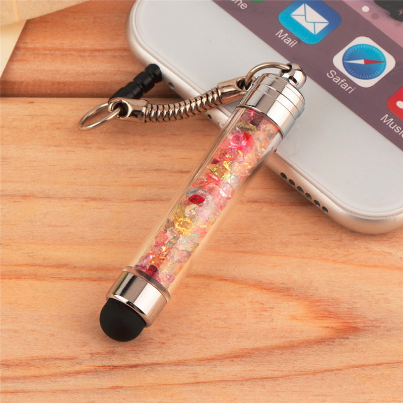 FFFAS Diamond Crystal Stylus Touch Screen Pen Stylus 3.5mm Dust Plug Cap 2 in 1 For iPhone Tablet Android Phones Styluses Pen(China (Mainland))