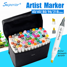 Buy Superior Artist Double Headed Marker Set 218 Colors Great Value Smooth Design Marker Animation Sketch Markers For Drawing for $27.59 in AliExpress store