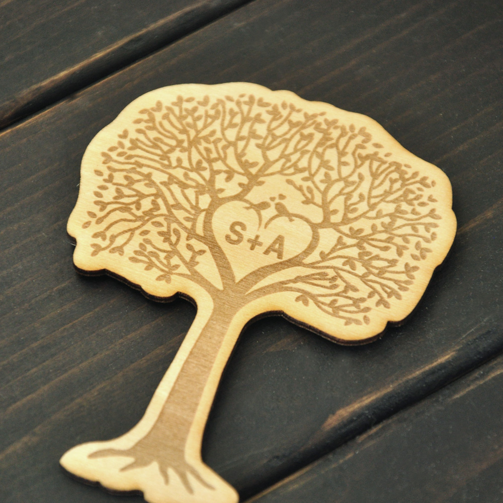 Personalized Tree Magnet, Custom Wood Magnet, Engraved tag for Wedding, Rustic Wedding Favor Magnet, Custom 2 initials(China (Mainland))