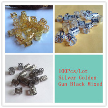 Free Shipping 100Pcs/Lot  mix Silver Golden Plated gun black color dread dreadlock Bead  adjustable cuff clip 8mm hole clip(China (Mainland))