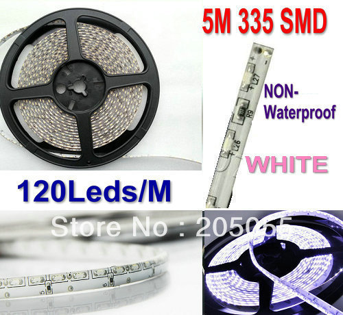 335SMD LED Strip Side emitting 5M 600 leds 120Leds/M SMD Light Side view NON-Waterproof 12V DC club stair/cabinet/Floor- White(China (Mainland))