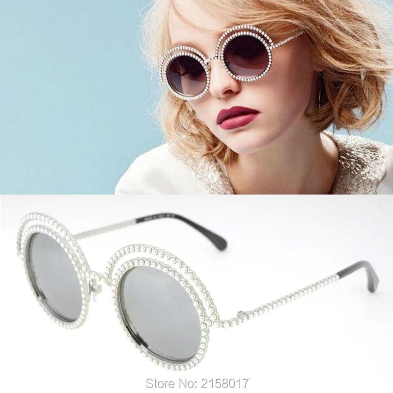 Фотография Luxury Brand Sunglasses Women 2016 New Arrival Round Lens Surround Pearl Frame Fashion Women Oculos De Sol With Logo And Box
