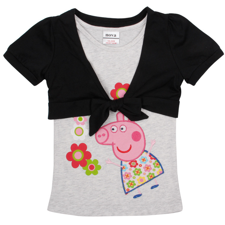 nova baby t shirts retail kids t shirt girl summer T shirts at favorable price cartoon characters t shirts girls kids clothing(China (Mainland))