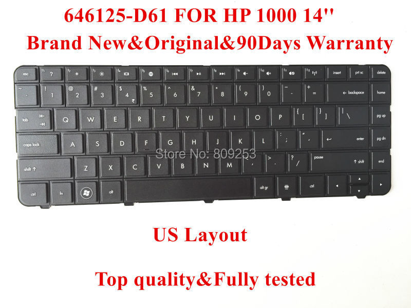 Original Keyboard for HP 1000 laptop keyboard 646125-D61 14'' US Layout 90days Warranty Top quality(China (Mainland))