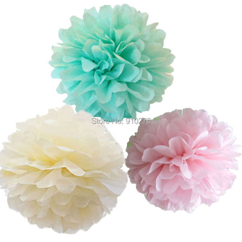 12 Mixed Mint Ivory Pink Party Tissue Pompoms Paper Flower Pom Poms Wedding Birthday Party Girls Room Decoration(China (Mainland))