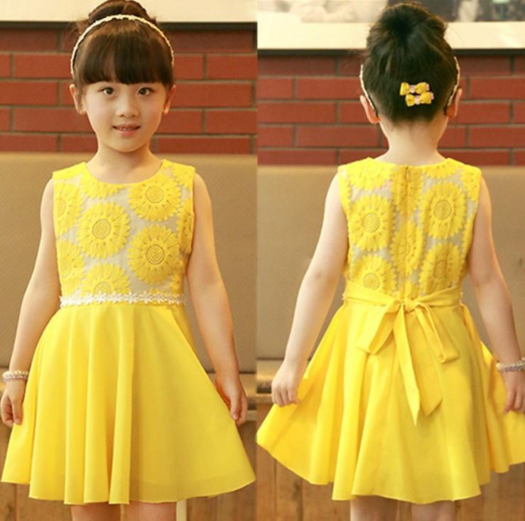 Fashion Girls 2014 New Summer Kids Korean Chiffon Princess Dress Veil Girl Sunflowers Dress Girl Yellow Party Dress <br><br>Aliexpress