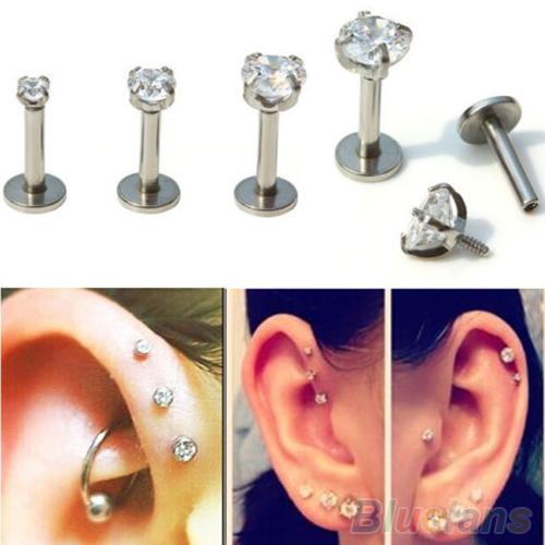 2Pcs Cubic Zirconia Tragus Lip Ring Monroe Ear Cartilage Earring Tongue Studs 2M9G(China (Mainland))