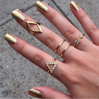 Timlee R005 Free shipping Grace Fashion Rhinestone Trangle rhombus Arrow Finger Rings Set ,5pcs/set Fashion Jewelry Wholesale .