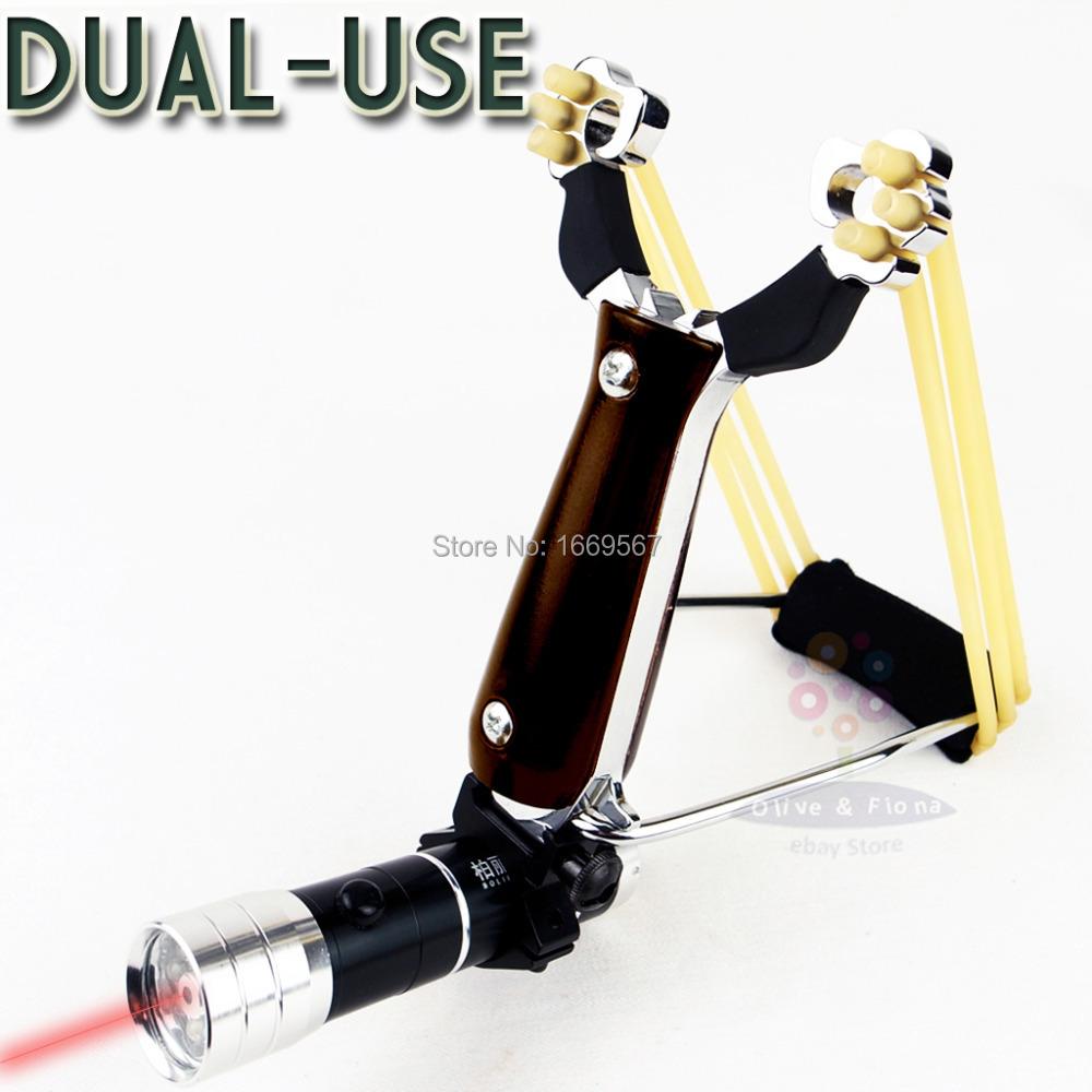 Powerful Wrist Slingshot With Flashlight Hunting Catapult Wooden Handle High Density Alloy Hunter Folding Wrist Sling Shot(China (Mainland))