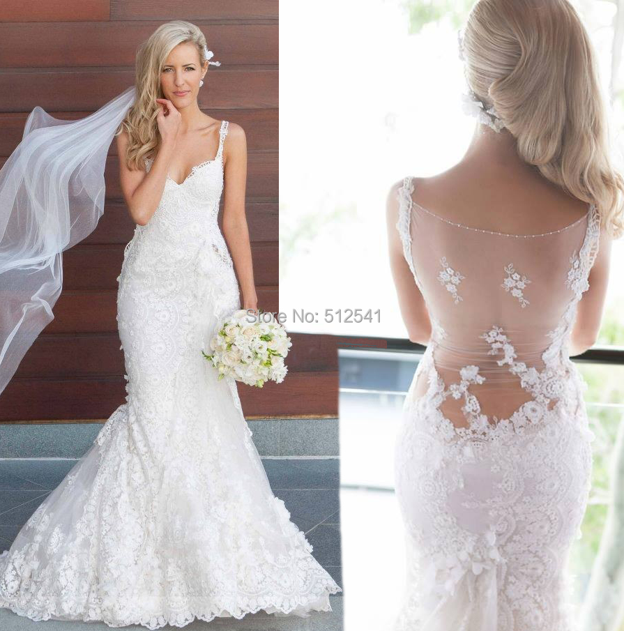 Buy 2015 seductive sheer illusion lace for Mermaid style wedding dresses with bling