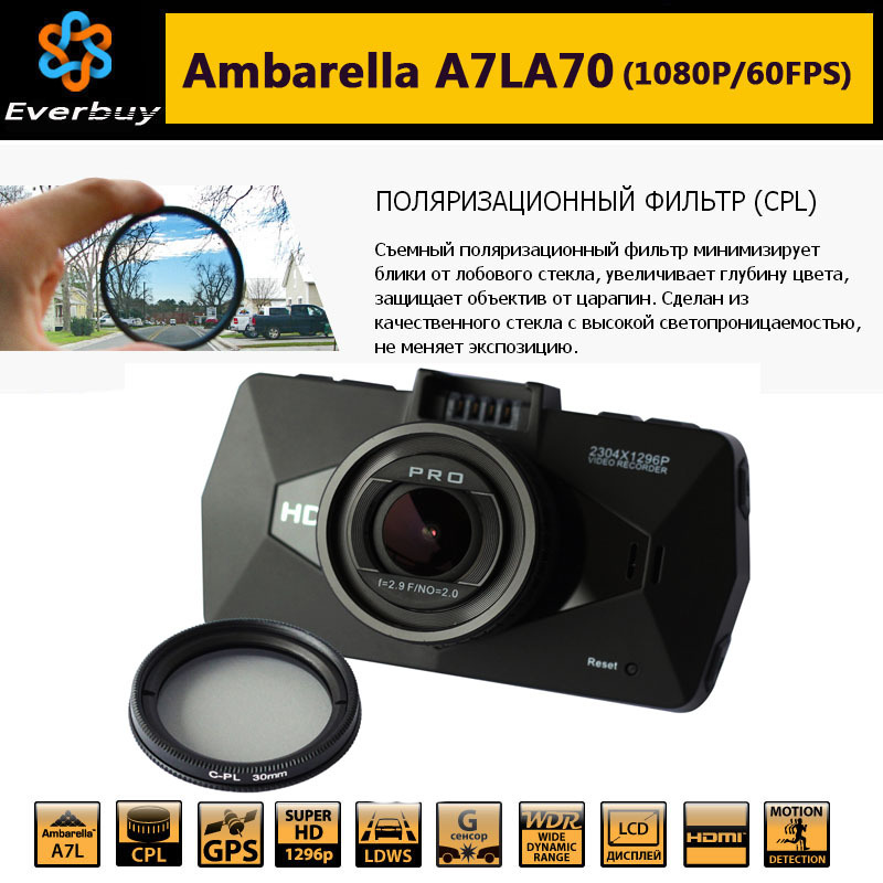 Best Ambarella A7 LA70 Car DVR Camera Recorder GPS Logger 1080P/60FPS 170 Degree Night Vision WDR