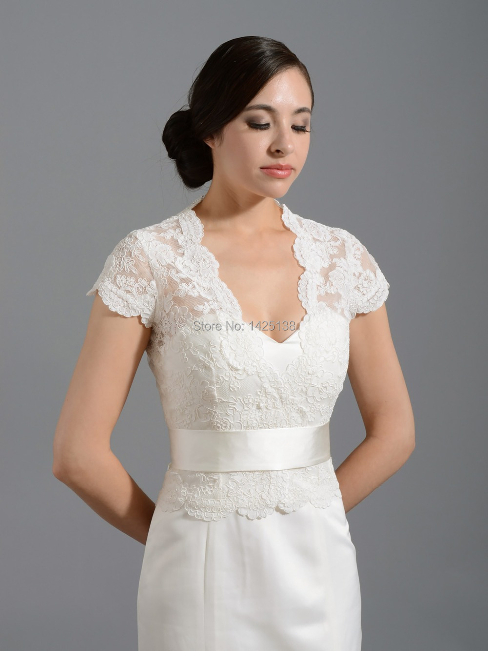 High quality charming ivory v neck cap sleeves lace for Wedding dress lace bolero