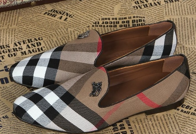 hotting Men leather shoes British Famous Brand B Gingham casual shoes luxury Autumn Loafers top quality plaid flat shoes party(China (Mainland))