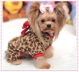 Red Leopard Fleece Pet Small Dog Coat Dog Clothes for Yorkshire 2015 Cute Bow Dog Jumpsuits Winter Dog Clothing for Teddy(China (Mainland))