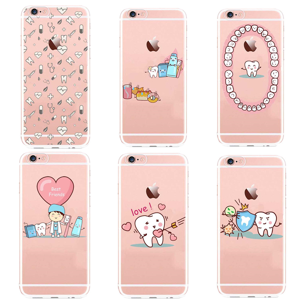 Unique Design Kawaii Tooth Love Phone Cases for iPhone 7 7Plus 6 6s 5 5s se Plus dentist nurse Clear Silicone Cover Coque Capa(China (Mainland))