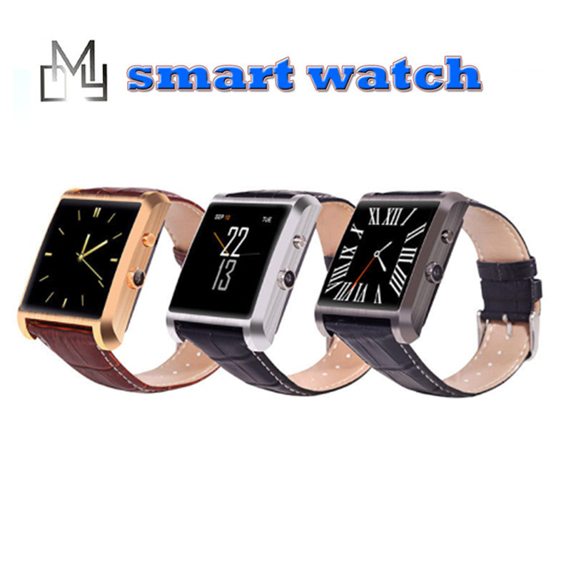 2016 new DM08 Bluetooth Leather Smart Watch with Camera IPS Screen 360mAh Battery live Waterproof for IOS Android Smartphone(China (Mainland))