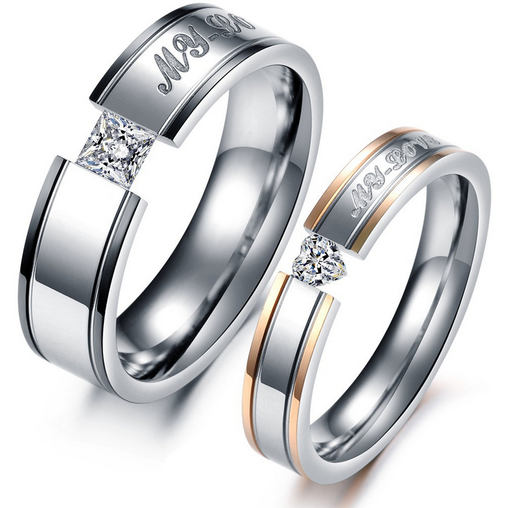 "2014 New Couples Fashion Ring"" Forever Love"" 316L Stainless Steel  Platinum Plated Rhinestone For Party Wedding Engagement GJ351"