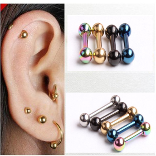 Retro 3mm Men's Stainless Steel Ball Barbell Ear Piercing Studs Earrings Black Golden Sale Fashion(China (Mainland))