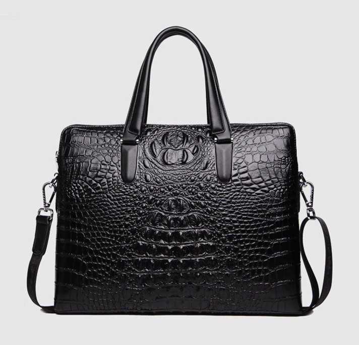 2016 Men Leather Business Briefcase Crocodile Designer Handbag Portfolio 14'' Laptop Case Michaeled Tote Free Shipping(China (Mainland))