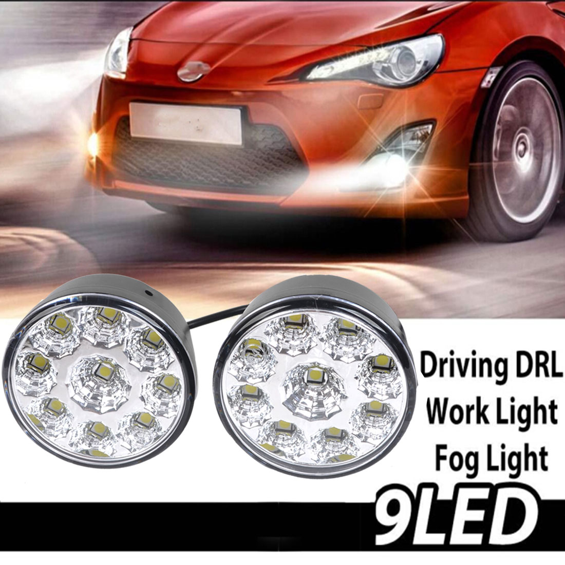 2 Pcs/lot 9 LED Round Daytime Driving Running Light DRL Car Fog Lamp Headlight White Discount 50 Size 70 x 45mm(H*D)(China (Mainland))